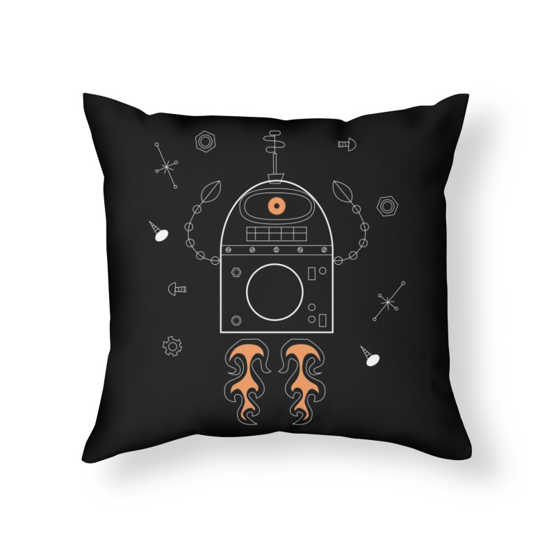 Space Robot with Rockets flying through the Universe Home Throw Pillow by amirabouroumie's Artist Shop