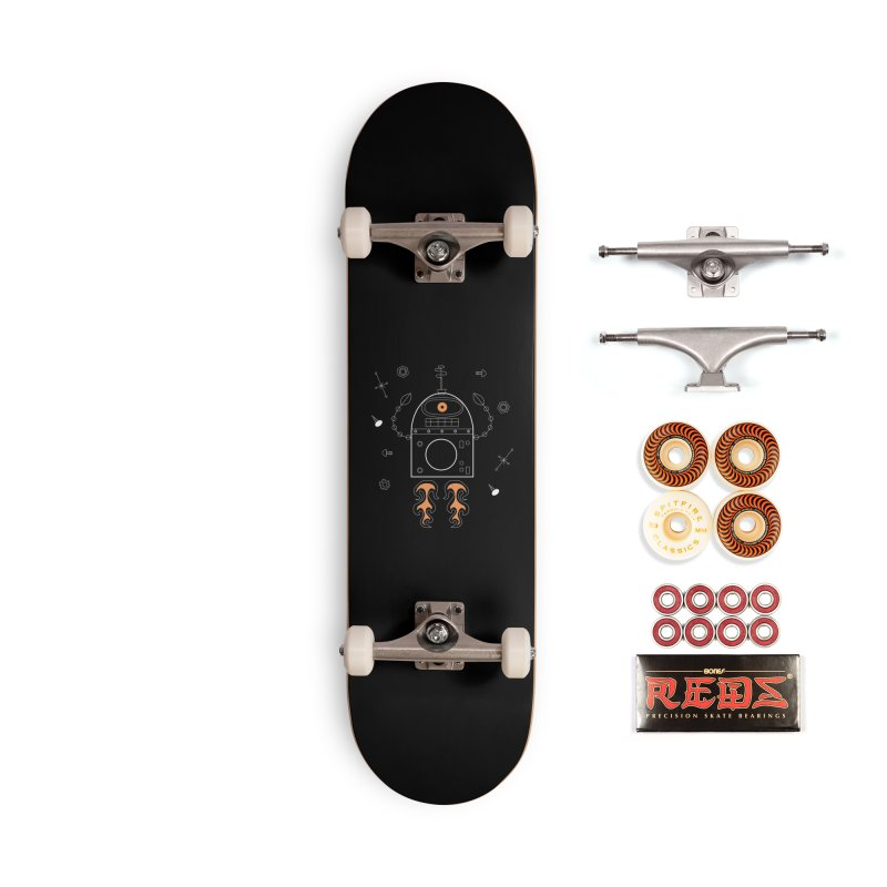 Space Robot with Rockets flying through the Universe Accessories Skateboard by amirabouroumie's Artist Shop