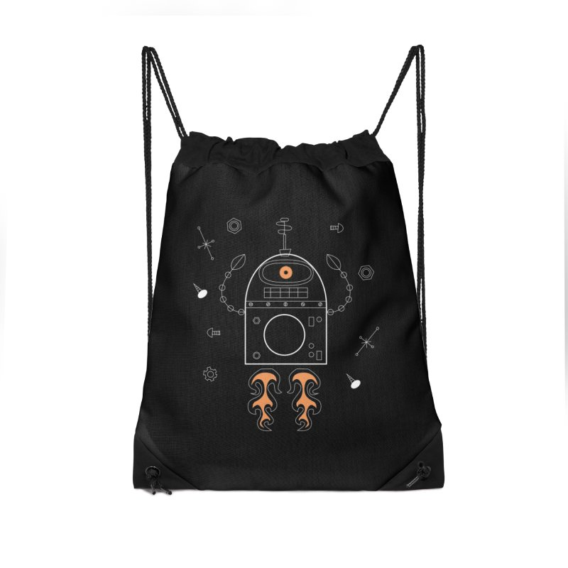 Space Robot with Rockets flying through the Universe Accessories Bag by amirabouroumie's Artist Shop