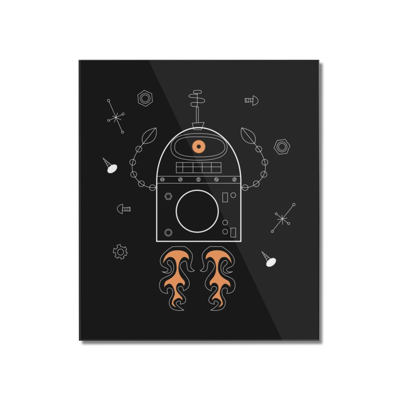 Space Robot with Rockets flying through the Universe Home Mounted Acrylic Print by amirabouroumie's Artist Shop
