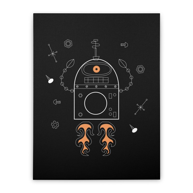 Space Robot with Rockets flying through the Universe Home Stretched Canvas by amirabouroumie's Artist Shop
