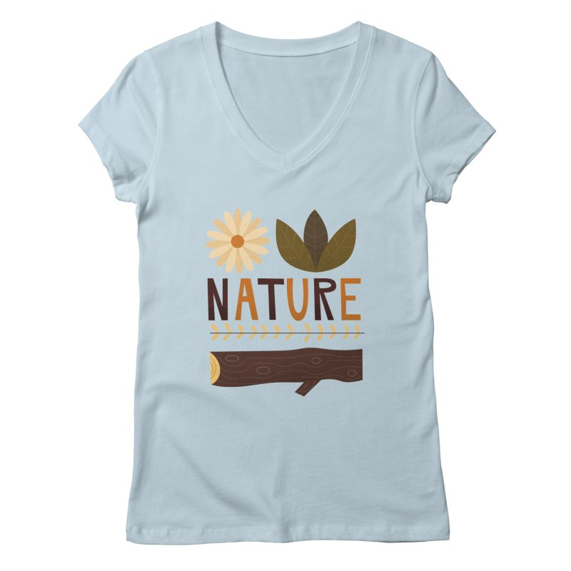 Outdoors Vintage Nature T-Shirt   Retro Camping Design Women's V-Neck by amirabouroumie's Artist Shop