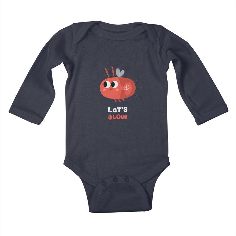 Let's Glow | Cute Firefly Lightning Bug Retro Kids Baby Longsleeve Bodysuit by amirabouroumie's Artist Shop