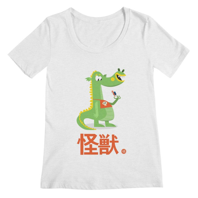 Kaiju - Friendly neighbourhood dragon Women's Regular Scoop Neck by amirabouroumie's Artist Shop
