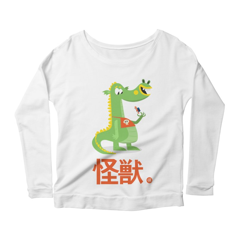 Kaiju - Friendly neighbourhood dragon Women's Scoop Neck Longsleeve T-Shirt by amirabouroumie's Artist Shop