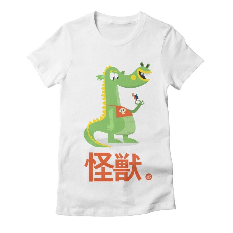 Kaiju - Friendly neighbourhood dragon Women's Fitted T-Shirt by amirabouroumie's Artist Shop