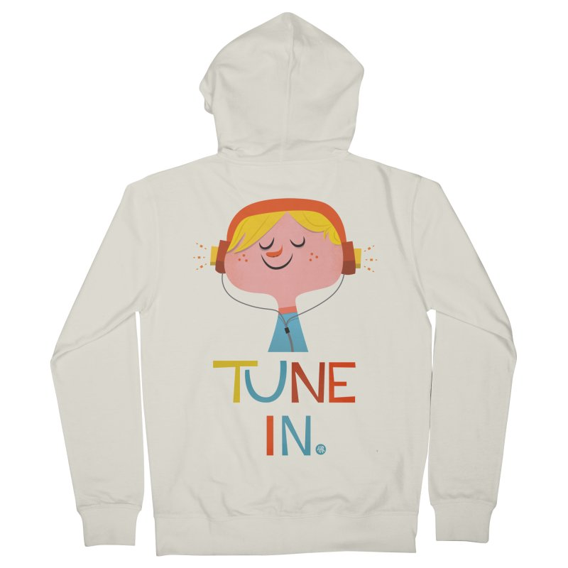Tune In. Men's French Terry Zip-Up Hoody by amirabouroumie's Artist Shop