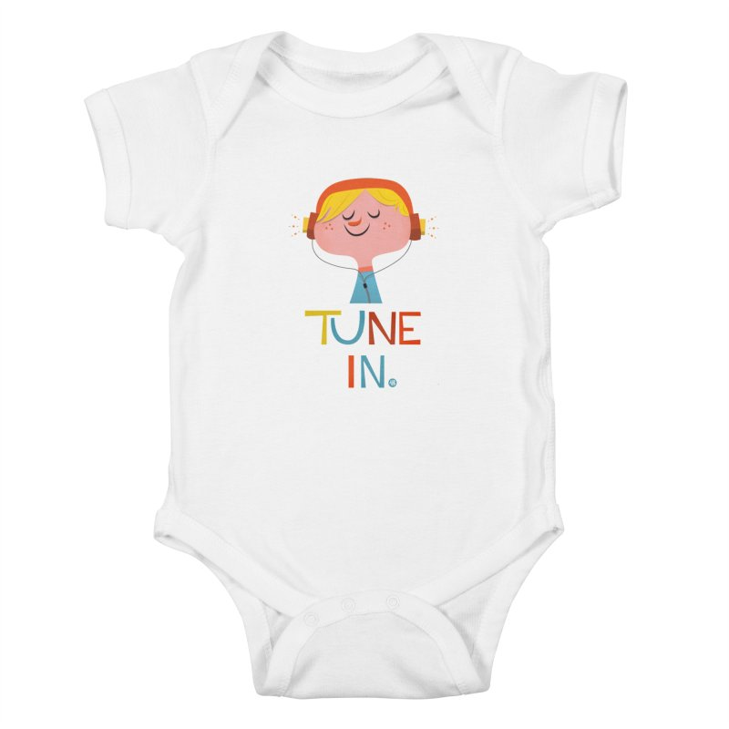 Tune In. Kids Baby Bodysuit by amirabouroumie's Artist Shop