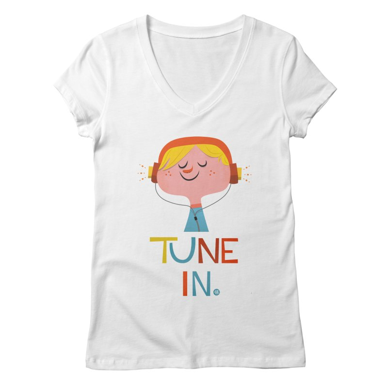 Tune In. Women's Regular V-Neck by amirabouroumie's Artist Shop