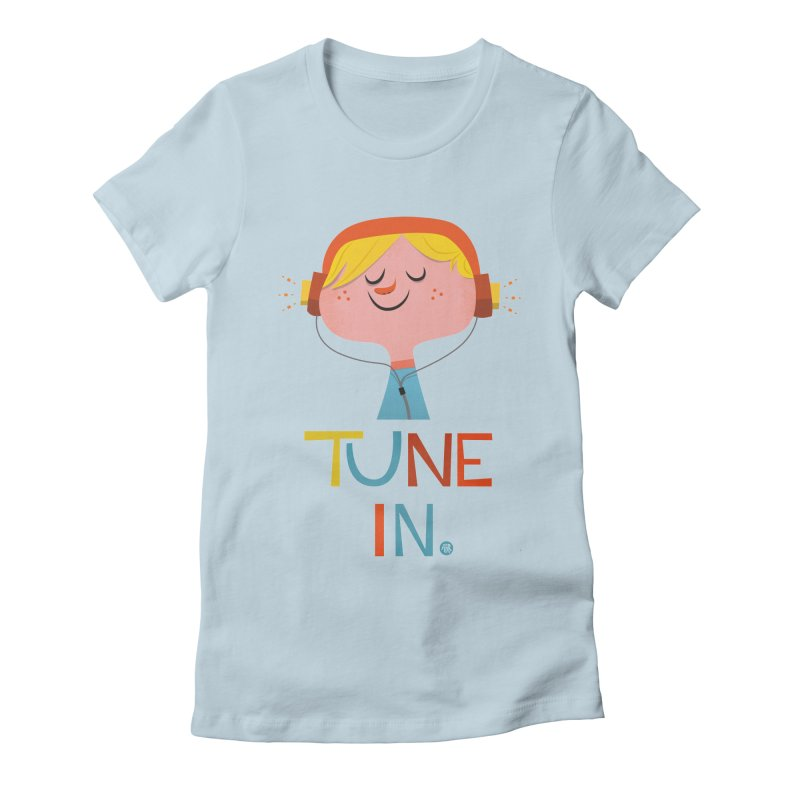 Tune In. Women's Fitted T-Shirt by amirabouroumie's Artist Shop