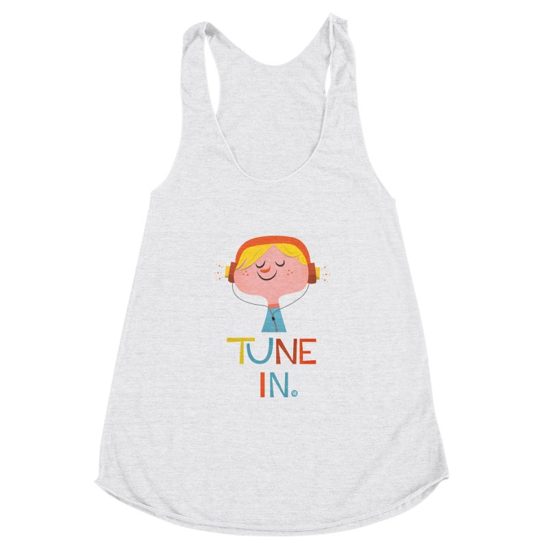 Tune In. Women's Racerback Triblend Tank by amirabouroumie's Artist Shop