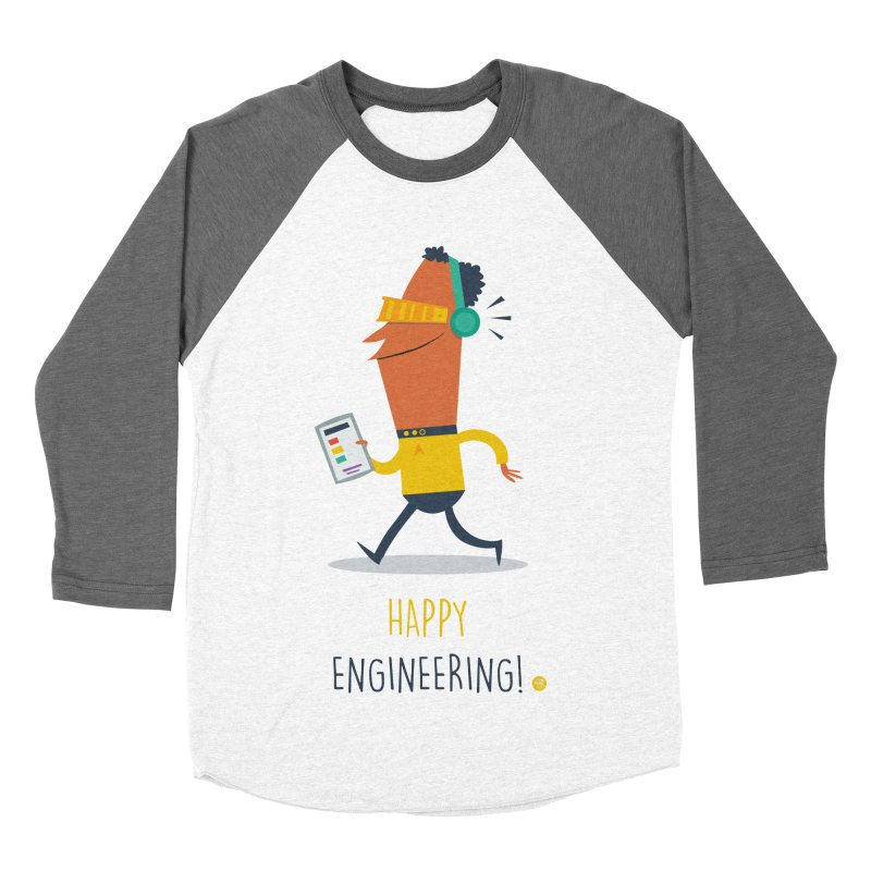 Happy Engineering Men's Baseball Triblend Longsleeve T-Shirt by amirabouroumie's Artist Shop