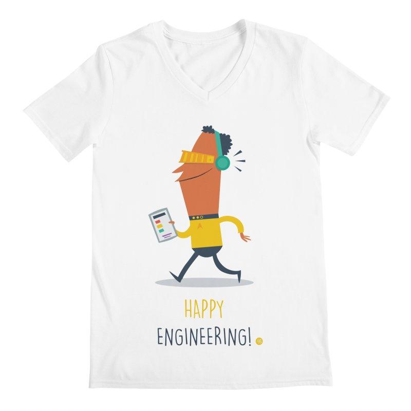 Happy Engineering Men's Regular V-Neck by amirabouroumie's Artist Shop