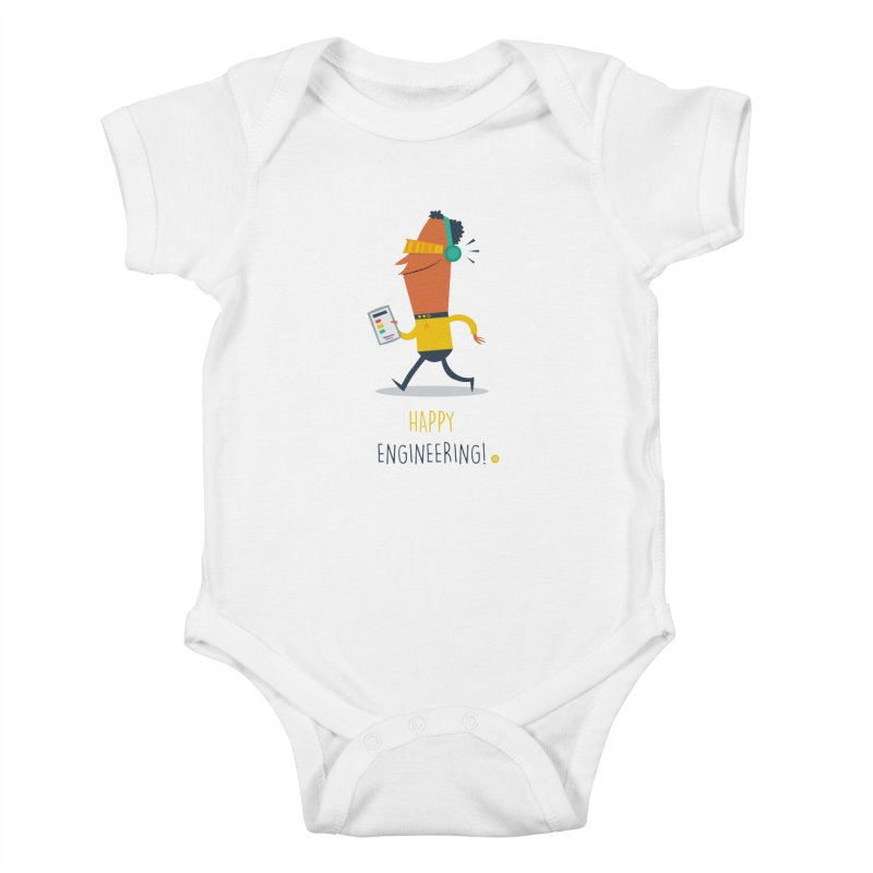 Happy Engineering Kids Baby Bodysuit by amirabouroumie's Artist Shop