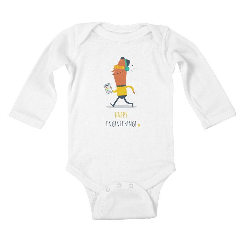 Happy Engineering Kids Baby Longsleeve Bodysuit by amirabouroumie's Artist Shop