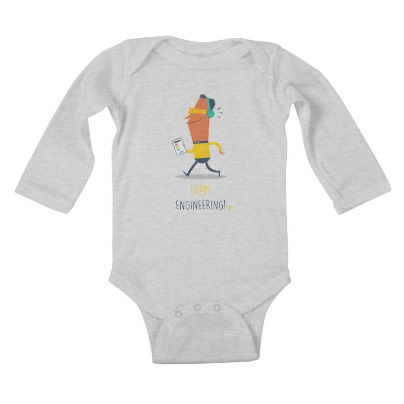 Happy Engineering Kids Baby Longsleeve Bodysuit by amirabouroumie's Artist Shop
