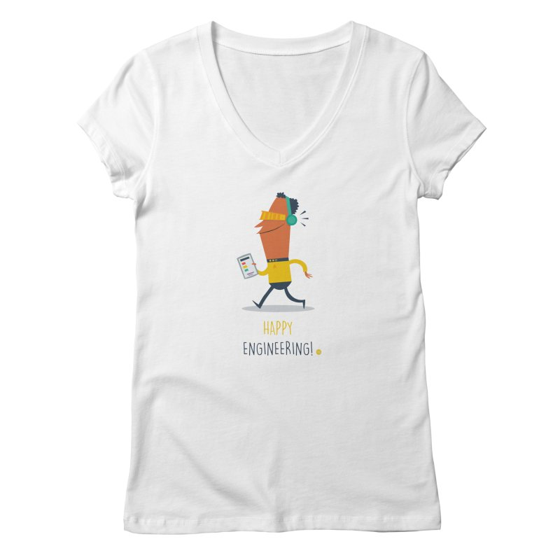 Happy Engineering Women's V-Neck by amirabouroumie's Artist Shop
