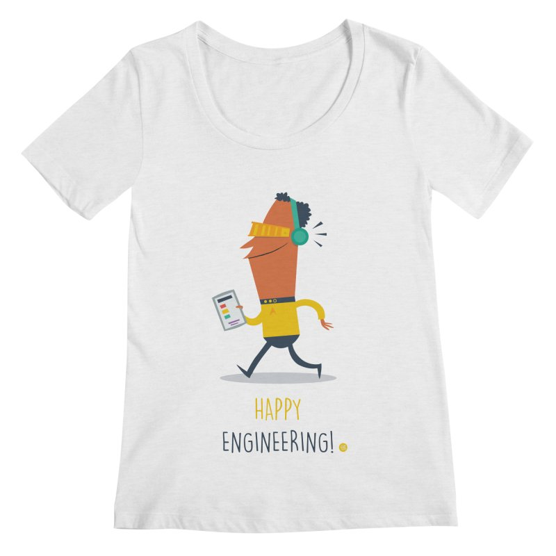 Happy Engineering Women's Regular Scoop Neck by amirabouroumie's Artist Shop