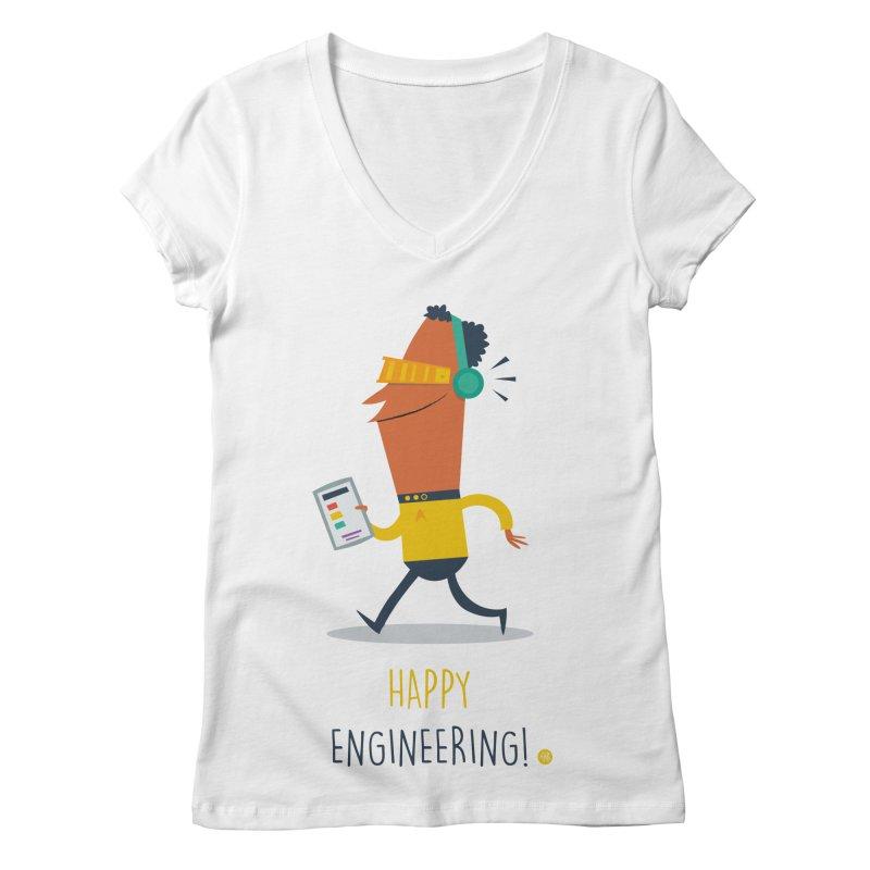 Happy Engineering Women's Regular V-Neck by amirabouroumie's Artist Shop