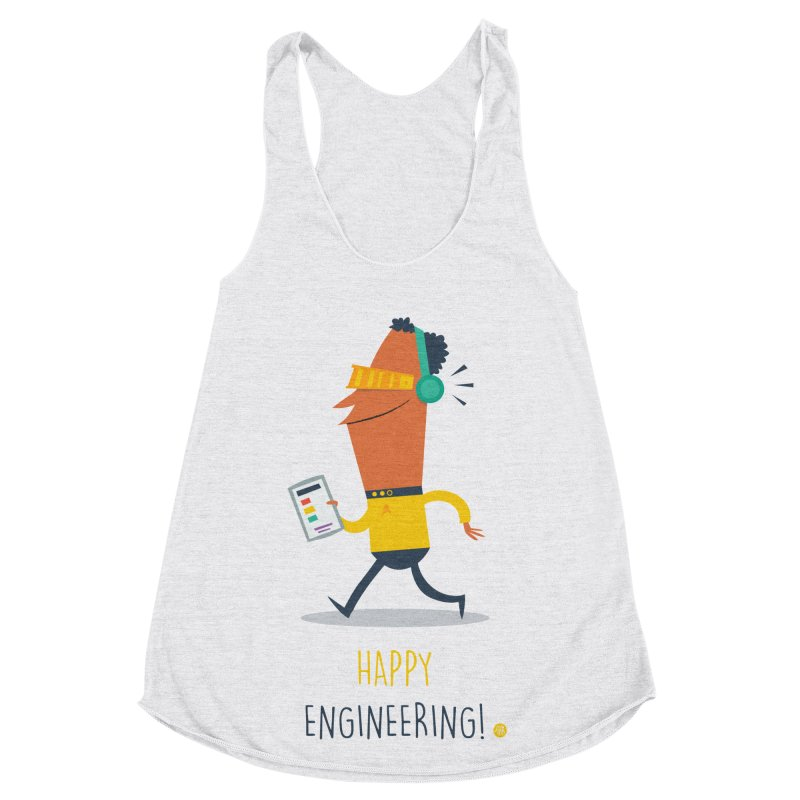 Happy Engineering Women's Racerback Triblend Tank by amirabouroumie's Artist Shop