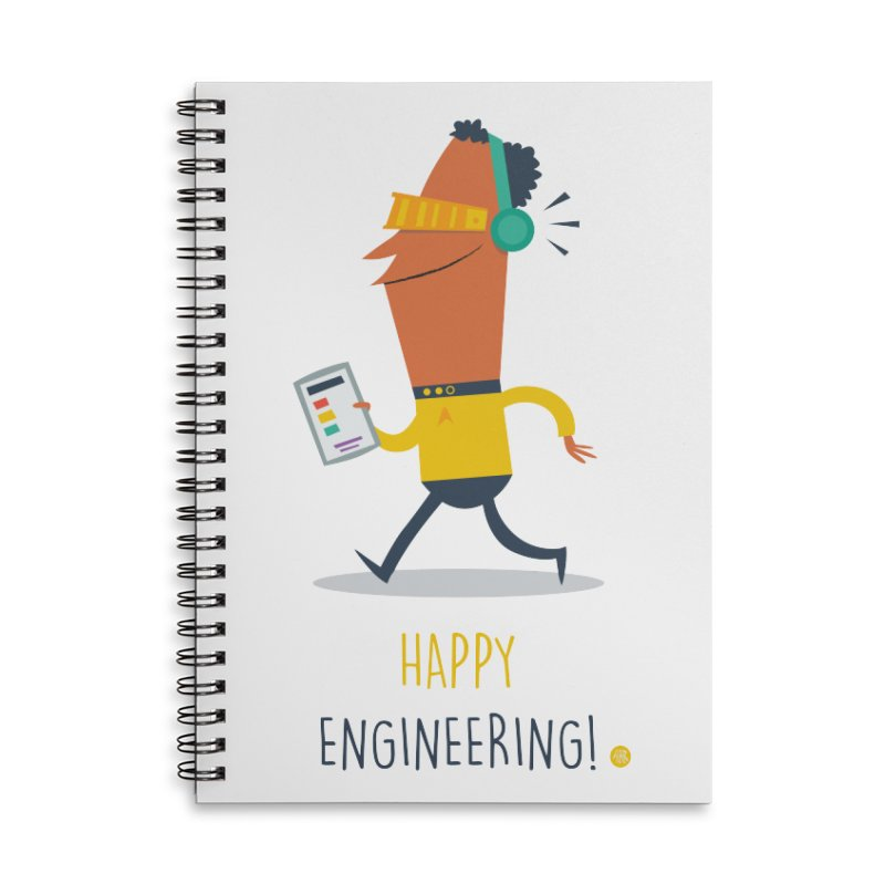 Happy Engineering Accessories Lined Spiral Notebook by amirabouroumie's Artist Shop