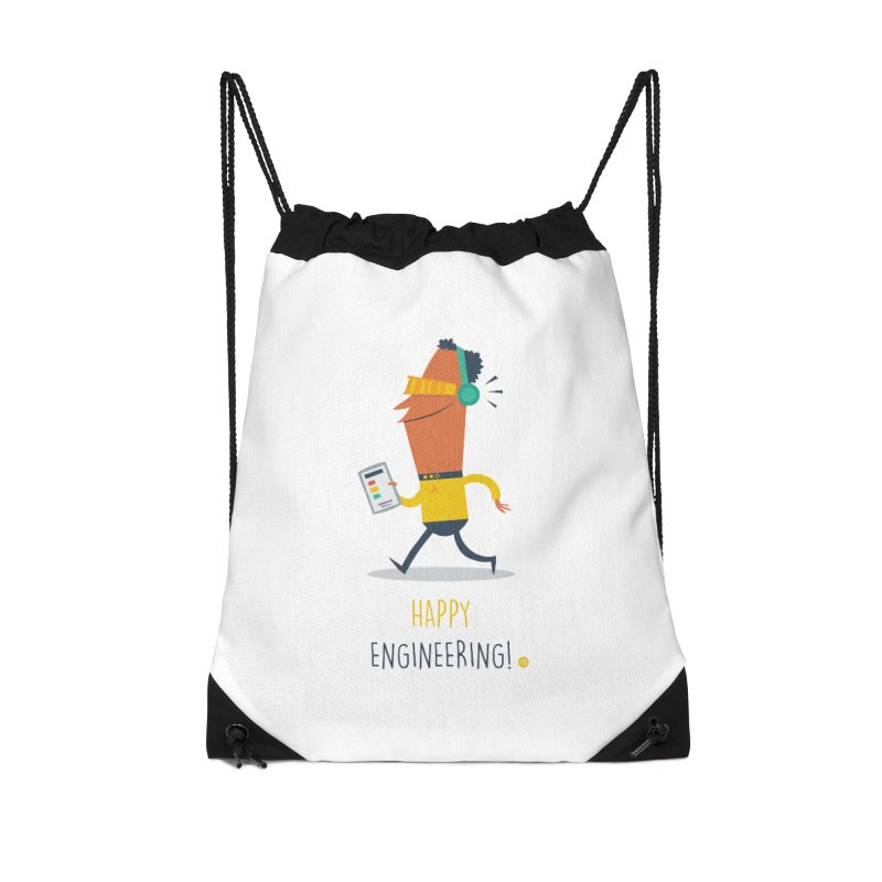 Happy Engineering Accessories Drawstring Bag Bag by amirabouroumie's Artist Shop