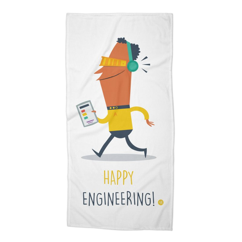 Happy Engineering Accessories Beach Towel by amirabouroumie's Artist Shop