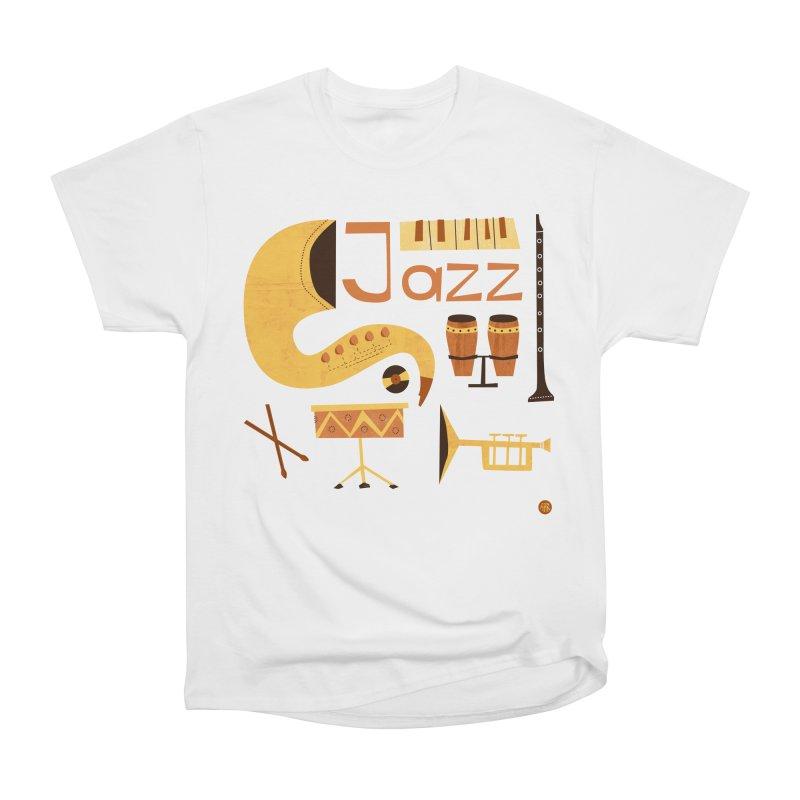 Vintage Jazz Illustration Women's Heavyweight Unisex T-Shirt by amirabouroumie's Artist Shop