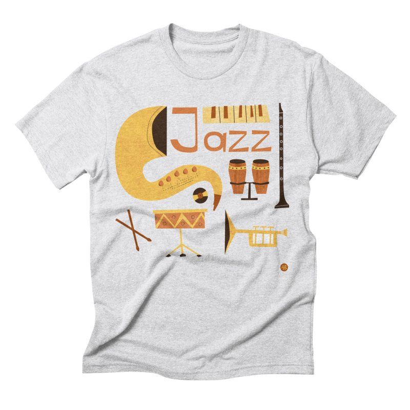 Vintage Jazz Illustration Men's Triblend T-Shirt by amirabouroumie's Artist Shop