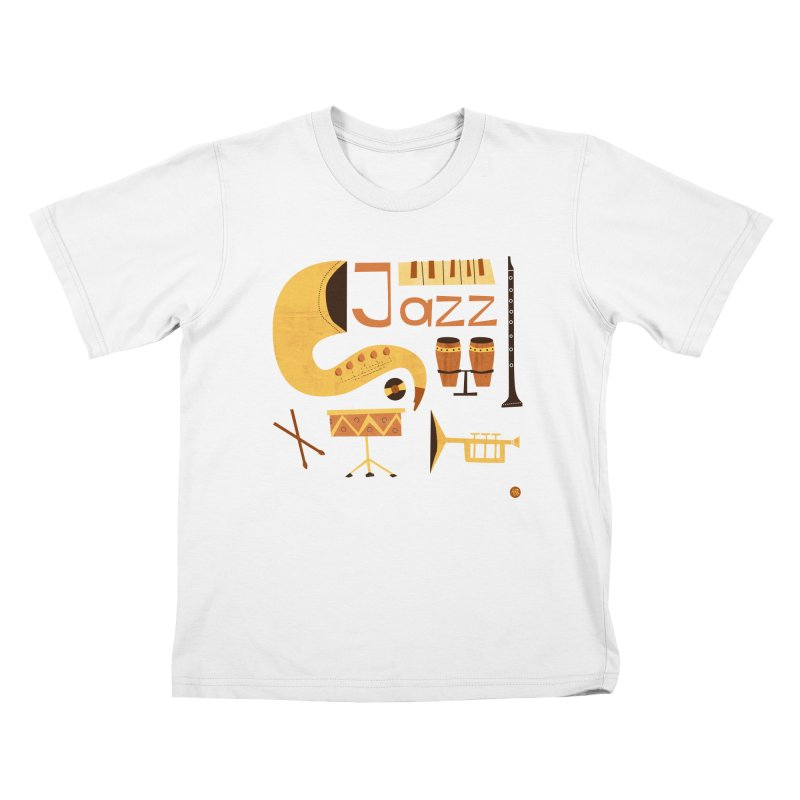 Vintage Jazz Illustration Kids T-Shirt by amirabouroumie's Artist Shop