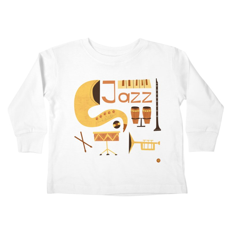 Vintage Jazz Illustration Kids Toddler Longsleeve T-Shirt by amirabouroumie's Artist Shop