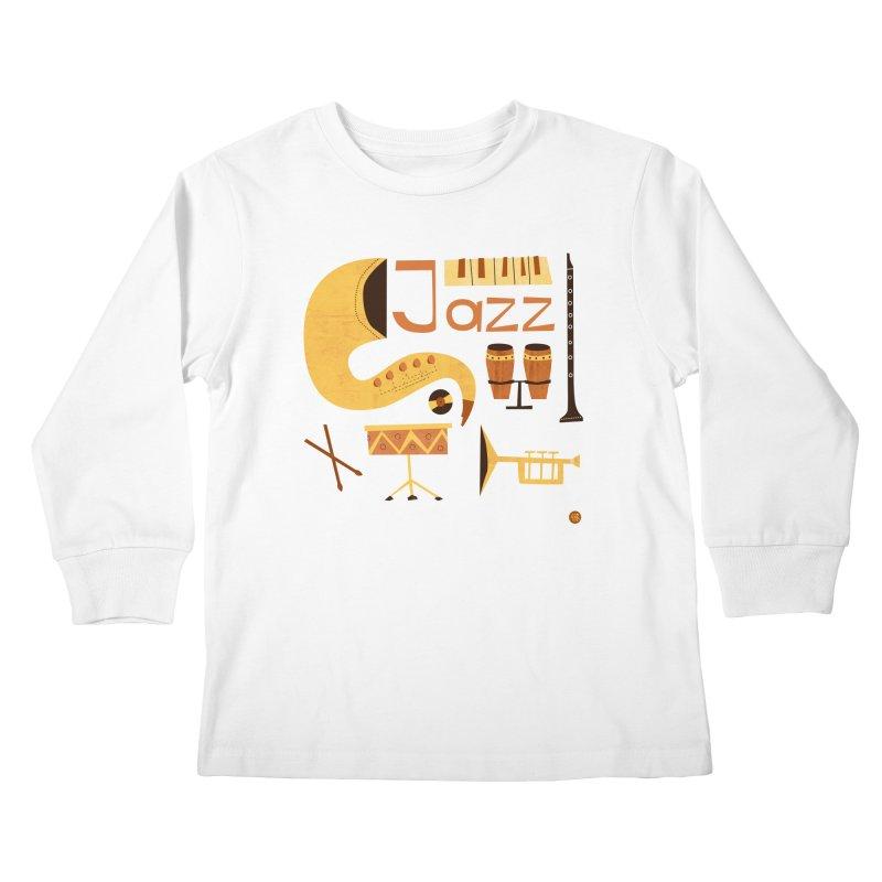 Vintage Jazz Illustration Kids Longsleeve T-Shirt by amirabouroumie's Artist Shop