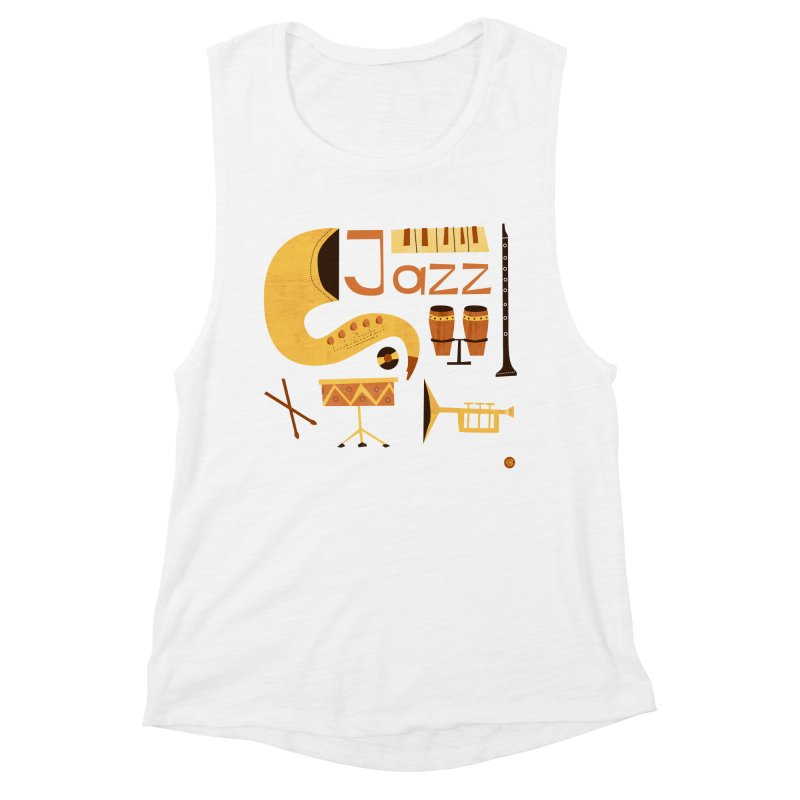 Vintage Jazz Illustration Women's Muscle Tank by amirabouroumie's Artist Shop