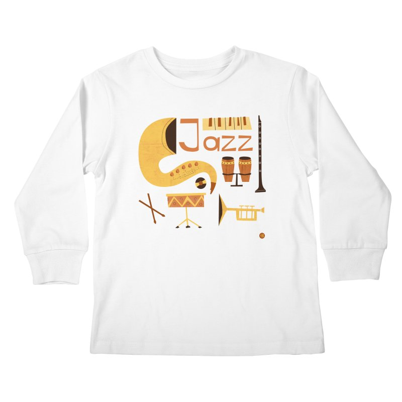 Vintage Jazz Illustration Kids Longsleeve T-Shirt by amirabouroumie's Artist Shop