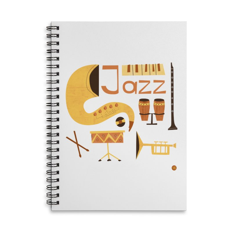 Vintage Jazz Illustration Accessories Lined Spiral Notebook by amirabouroumie's Artist Shop