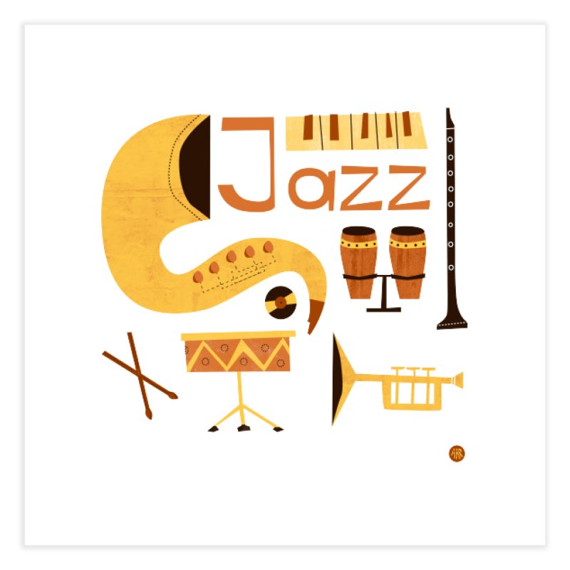 Vintage Jazz Illustration Home Fine Art Print by amirabouroumie's Artist Shop