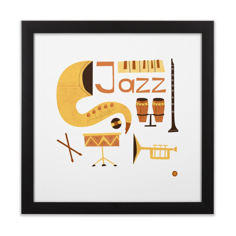 Vintage Jazz Illustration Home Framed Fine Art Print by amirabouroumie's Artist Shop