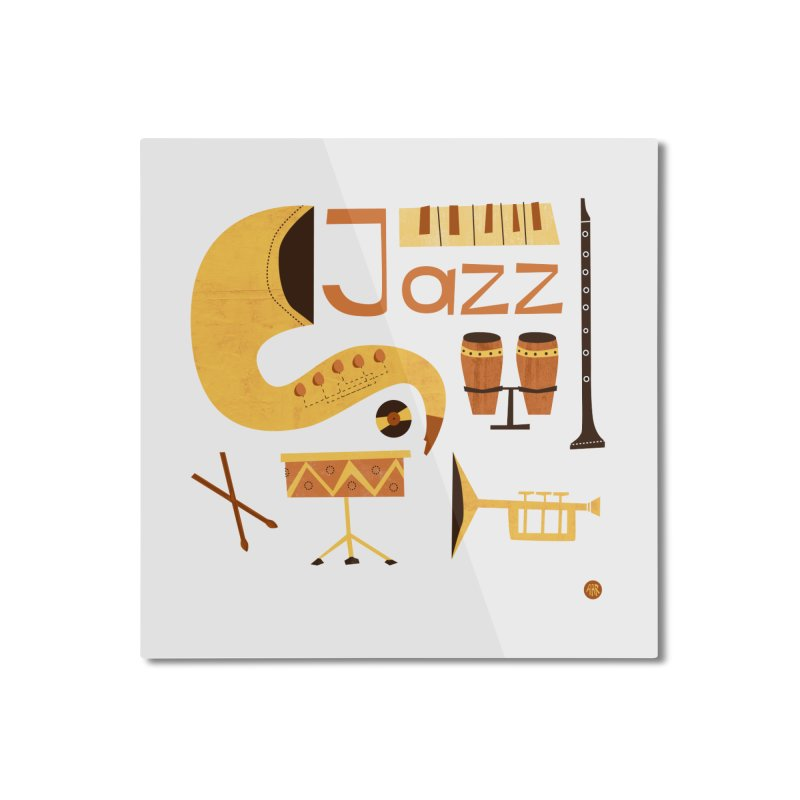 Vintage Jazz Illustration Home Mounted Aluminum Print by amirabouroumie's Artist Shop