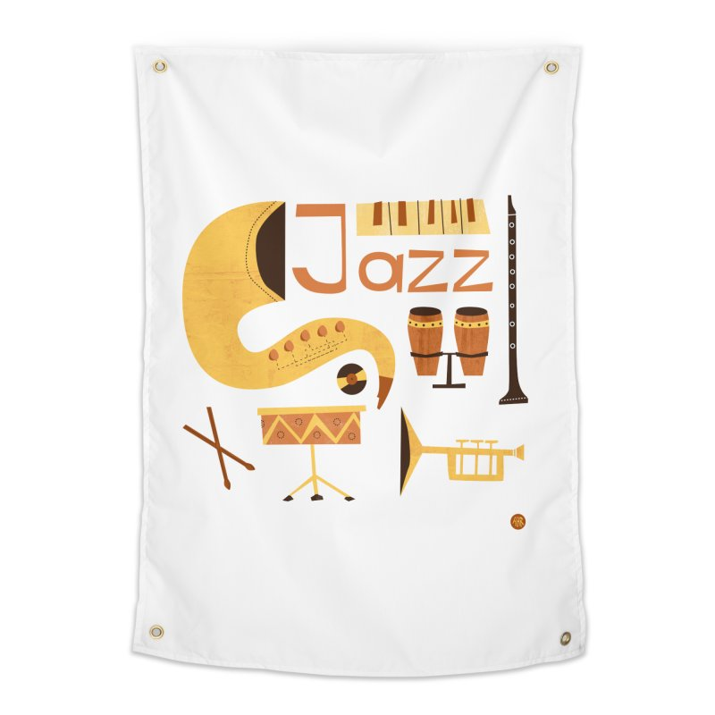 Vintage Jazz Illustration Home Tapestry by amirabouroumie's Artist Shop