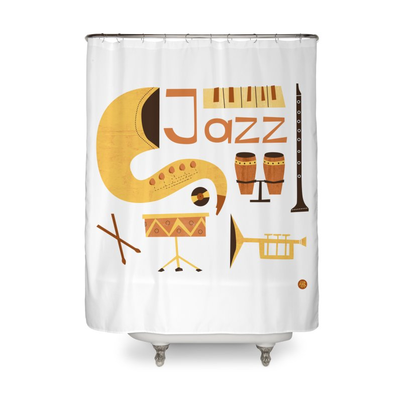 Vintage Jazz Illustration Home Shower Curtain by amirabouroumie's Artist Shop