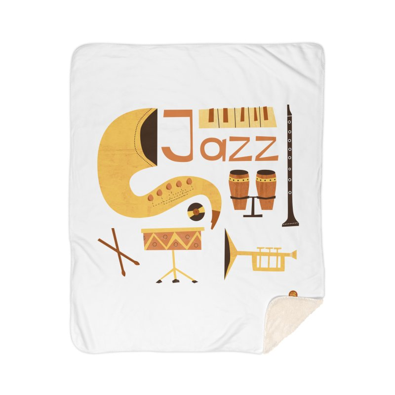Vintage Jazz Illustration Home Sherpa Blanket Blanket by amirabouroumie's Artist Shop