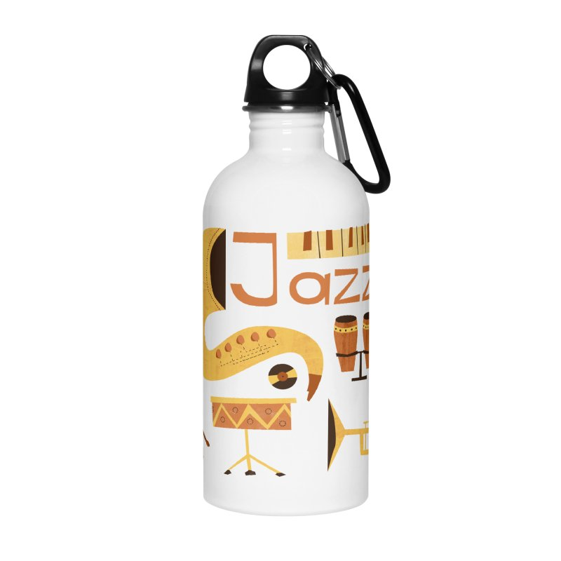 Vintage Jazz Illustration Accessories Water Bottle by amirabouroumie's Artist Shop