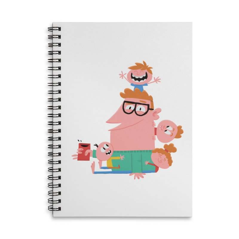 Dad has a Morning Coffee with Kids Accessories Lined Spiral Notebook by amirabouroumie's Artist Shop