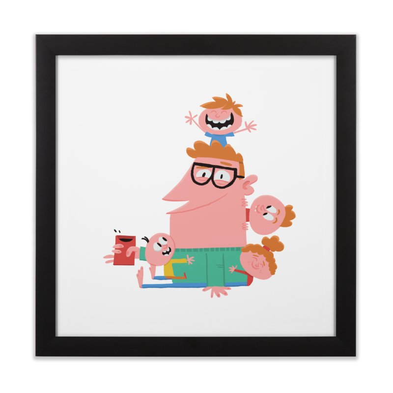 Dad has a Morning Coffee with Kids Home Framed Fine Art Print by amirabouroumie's Artist Shop