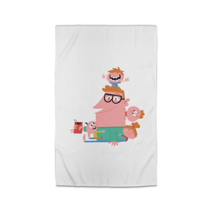 Dad has a Morning Coffee with Kids Home Rug by amirabouroumie's Artist Shop
