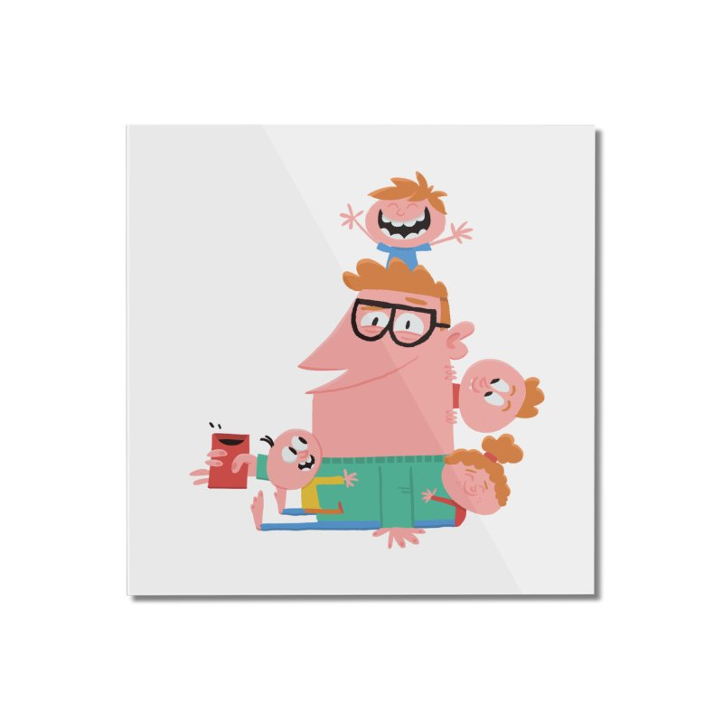 Dad has a Morning Coffee with Kids Home Mounted Acrylic Print by amirabouroumie's Artist Shop