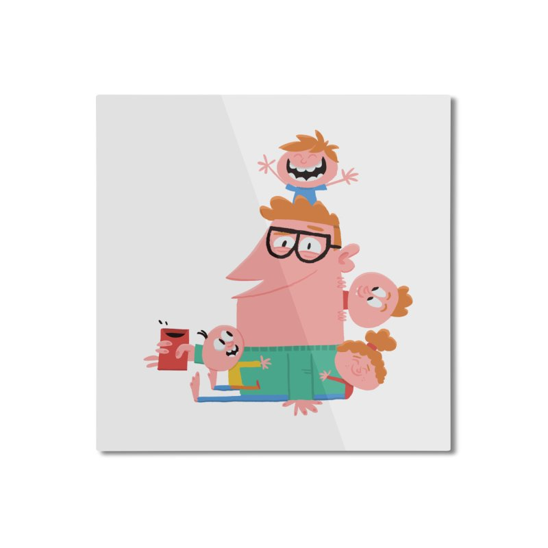Dad has a Morning Coffee with Kids Home Mounted Aluminum Print by amirabouroumie's Artist Shop