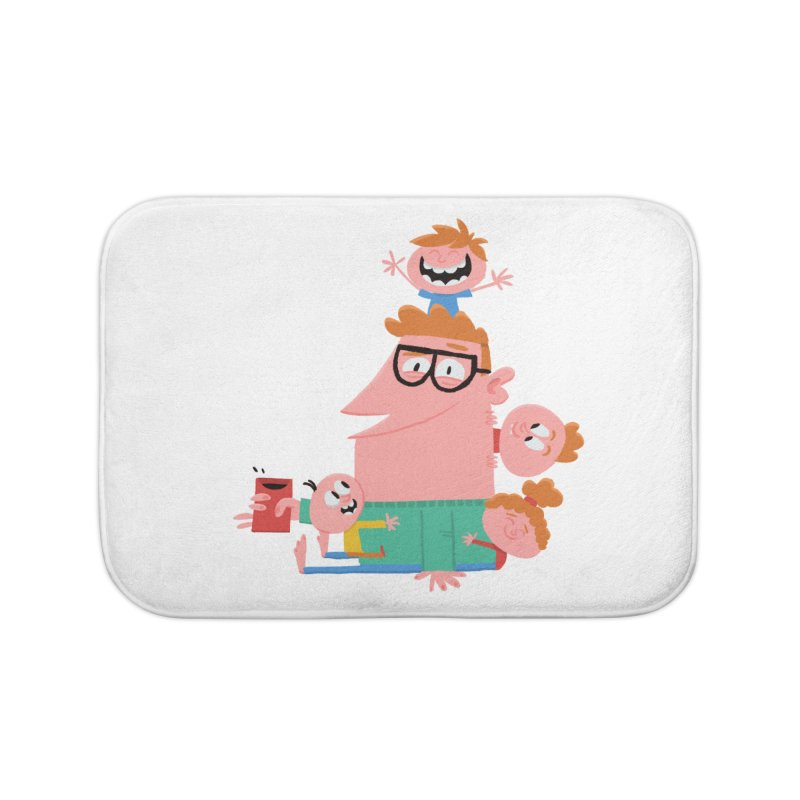 Dad has a Morning Coffee with Kids Home Bath Mat by amirabouroumie's Artist Shop