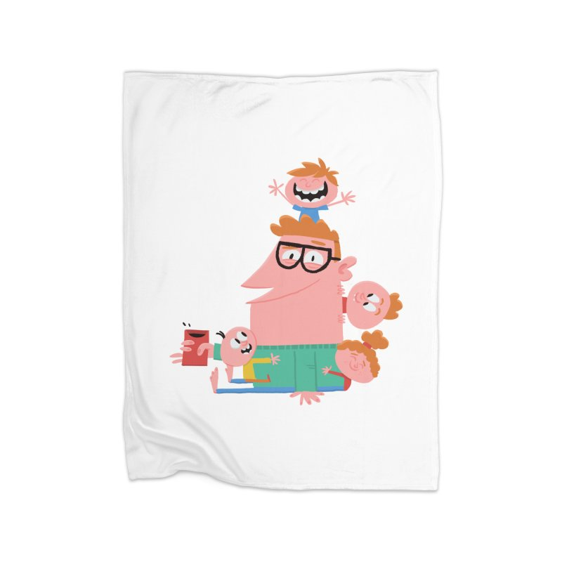 Dad has a Morning Coffee with Kids Home Blanket by amirabouroumie's Artist Shop