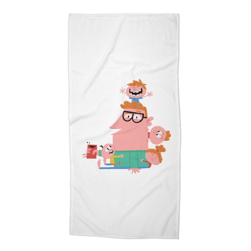 Dad has a Morning Coffee with Kids Accessories Beach Towel by amirabouroumie's Artist Shop